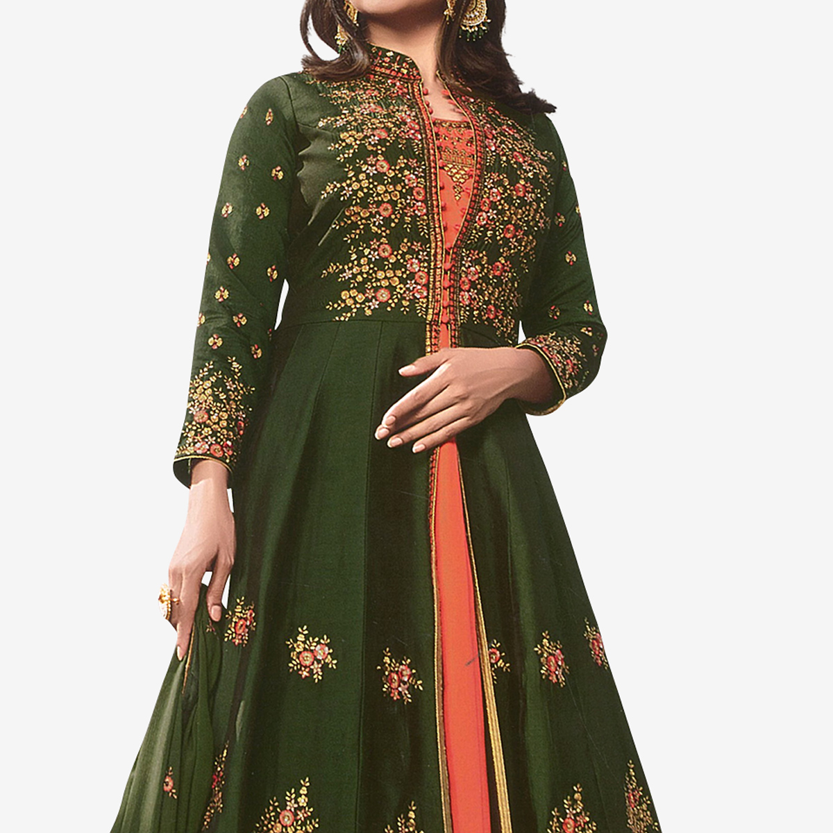 Hypnotic Green - Peach Colored Party Wear Embroidered Georgette Anarkali Suit