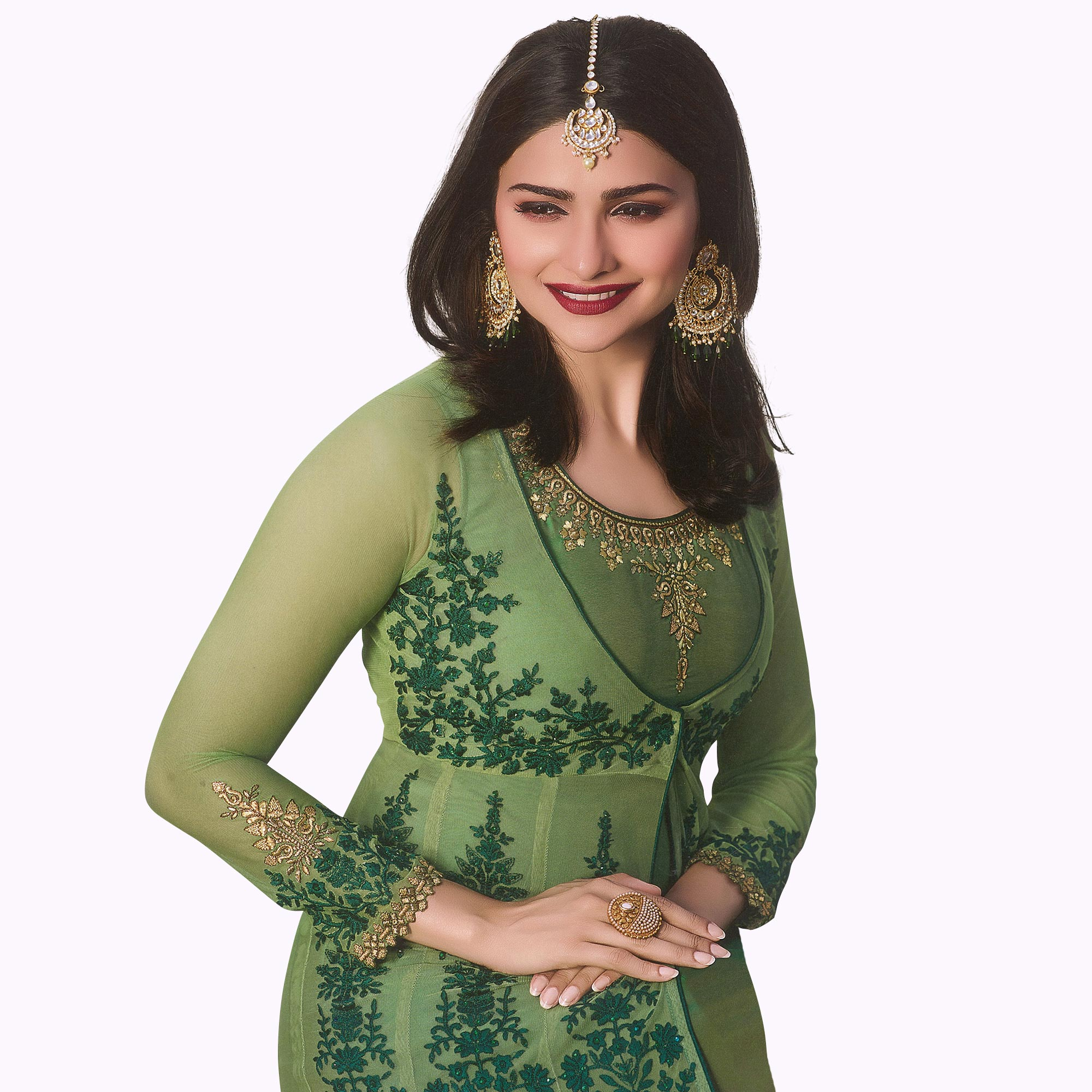 Excellent Green Colored Party Wear Embroidered Georgette Anarkali Suit
