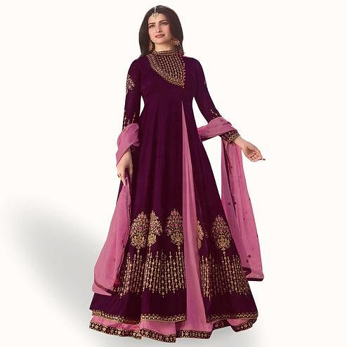 Breathtaking Purple - Pink Colored Party Wear Embroidered Georgette Anarkali Suit