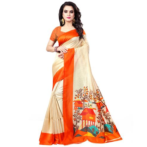 Sophisticated Beige - Orange Colored Casual Wear Printed Bhagalpuri Silk Saree