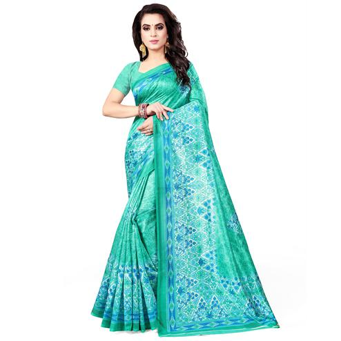 Trendy Turquoise Green Colored Casual Wear Printed Bhagalpuri Silk Saree
