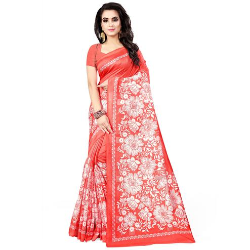 Flattering Coral Red Colored Casual Wear Printed Bhagalpuri Silk Saree