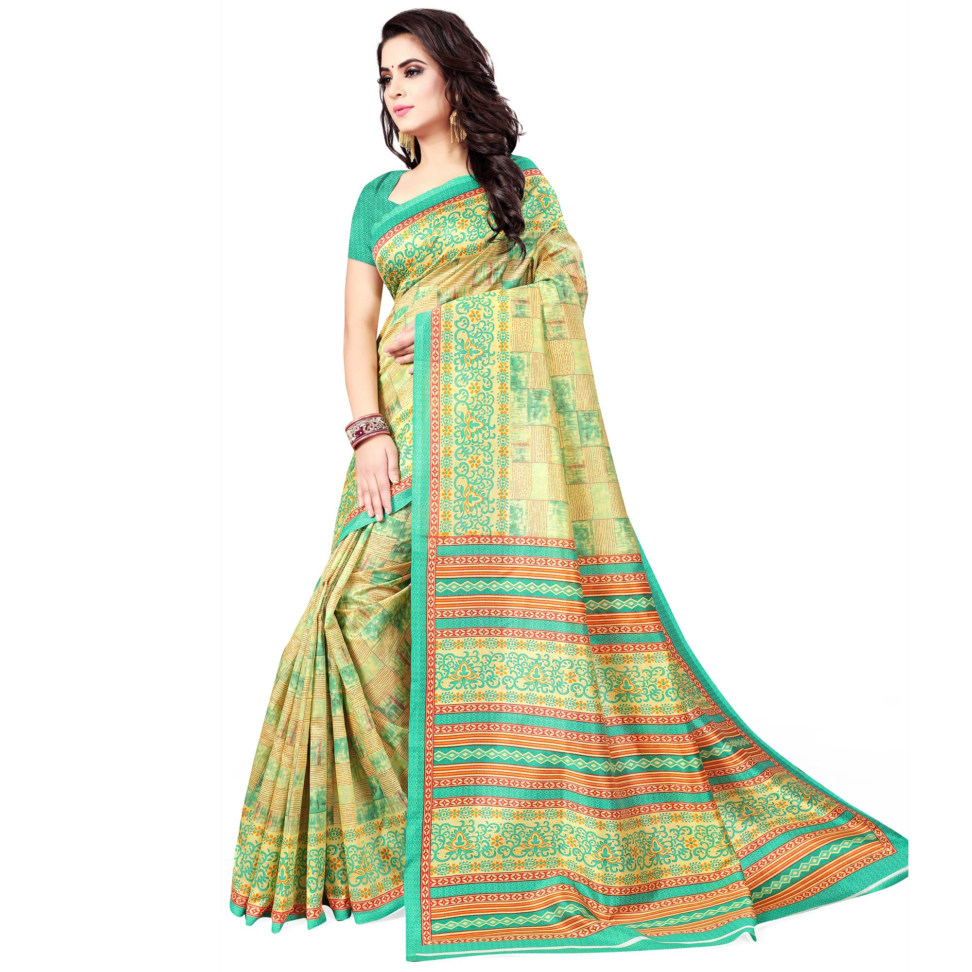 Radiant Light Green Colored Casual Wear Printed Bhagalpuri Silk Saree