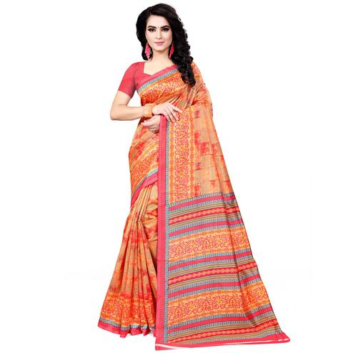 Majesty Orange Colored Casual Wear Printed Bhagalpuri Silk Saree