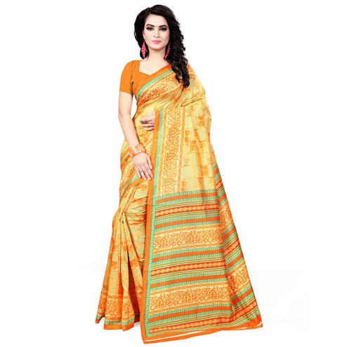 Opulent Yellow Colored Casual Wear Printed Bhagalpuri Silk Saree