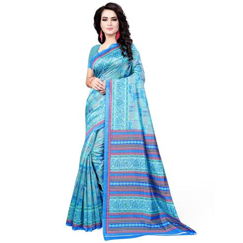 Energetic Sky Blue Colored Casual Wear Printed Bhagalpuri Silk Saree