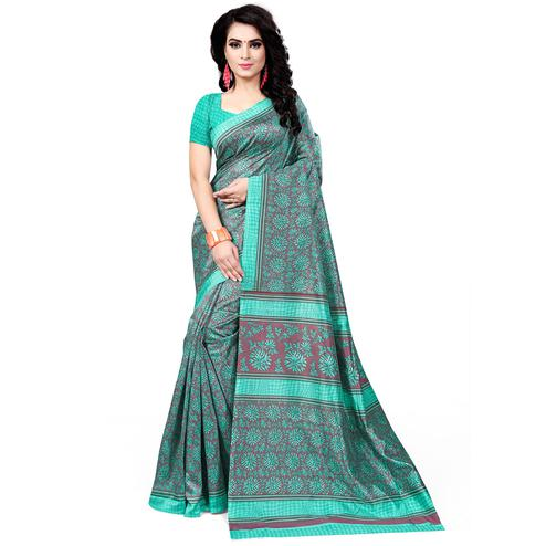 Unique Aqua Blue Colored Casual Wear Printed Bhagalpuri Silk Saree