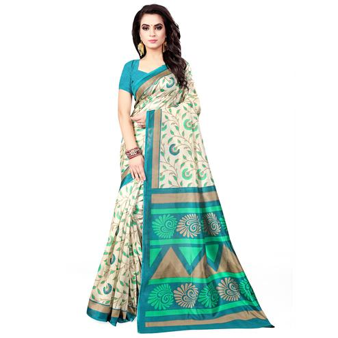 Glowing Cream - Green Colored Casual Wear Printed Bhagalpuri Silk Saree