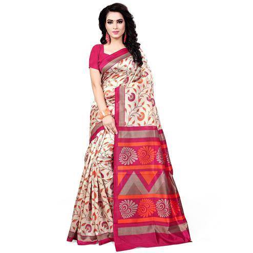 Exceptional Cream - Pink Colored Casual Wear Printed Bhagalpuri Silk Saree