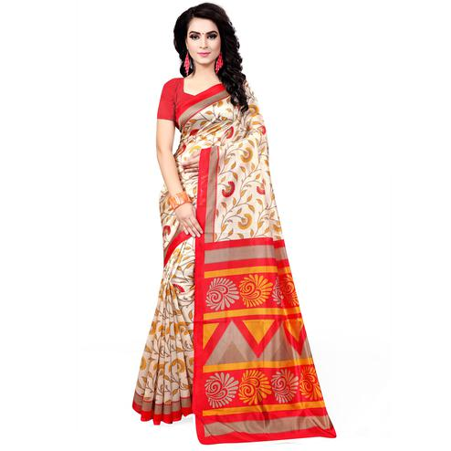 Gleaming Cream - Red Colored Casual Wear Printed Bhagalpuri Silk Saree