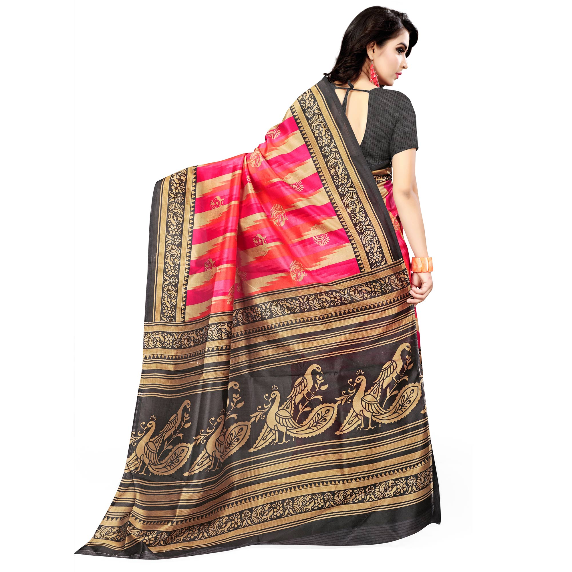 Mesmeric Pink - Black Colored Casual Wear Printed Bhagalpuri Silk Saree