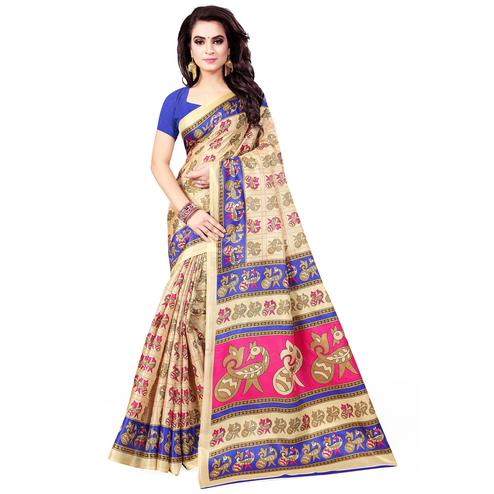 Demanding Beige - Blue Colored Casual Wear Printed Art Silk Saree