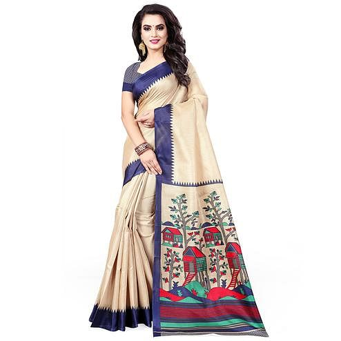 Refreshing Beige - Blue Colored Casual Wear Printed Art Silk Saree