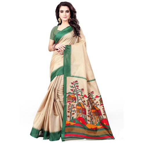 Magnetic Beige - Green Colored Casual Wear Printed Art Silk Saree