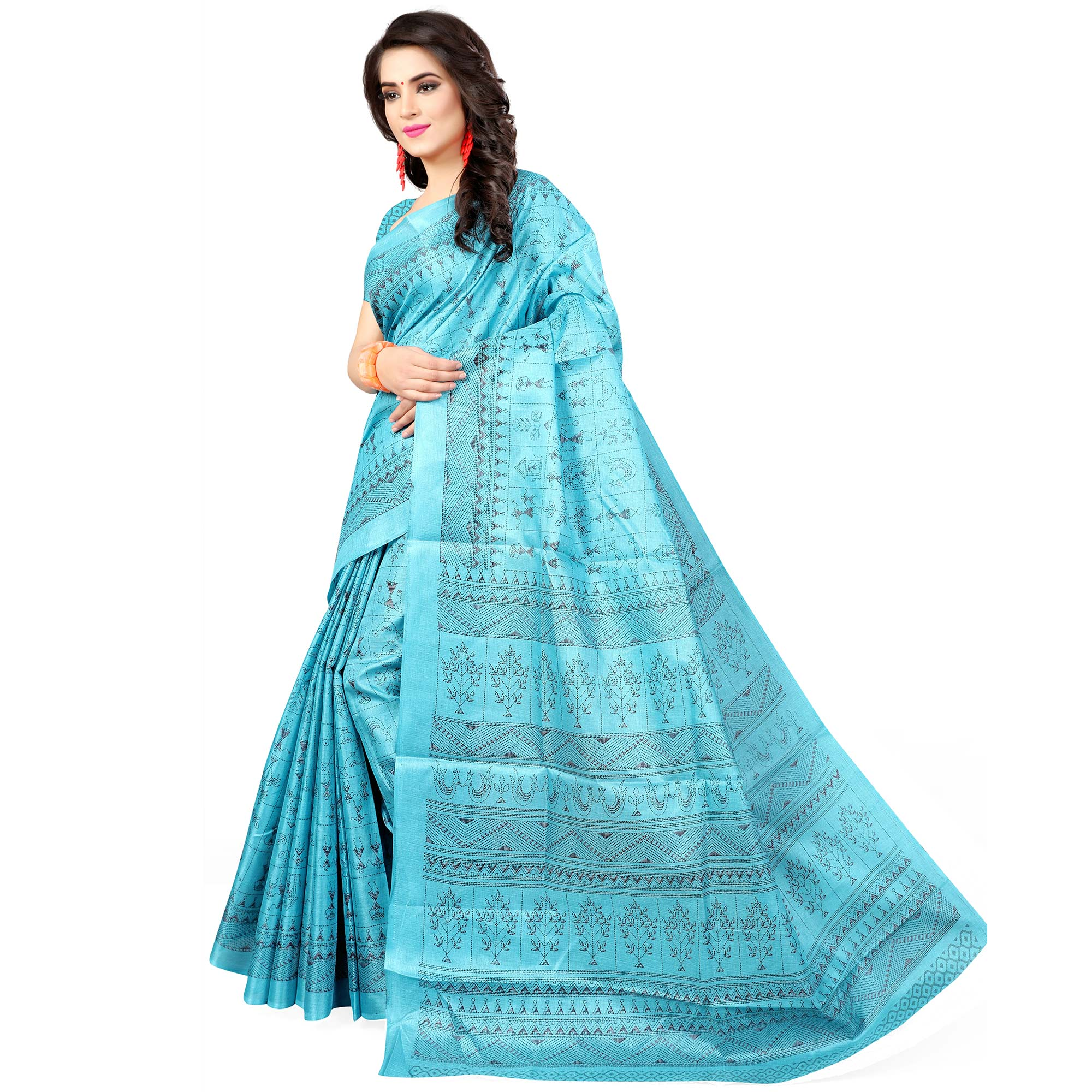 Hypnotic Sky Blue Colored Casual Wear Printed Art Silk Saree