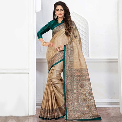 Beige - Green Casual Printed Bhagalpuri Saree