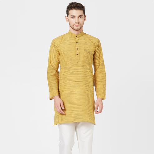 Delightful Mustard Yellow Colored Festive Wear Cotton Kurta
