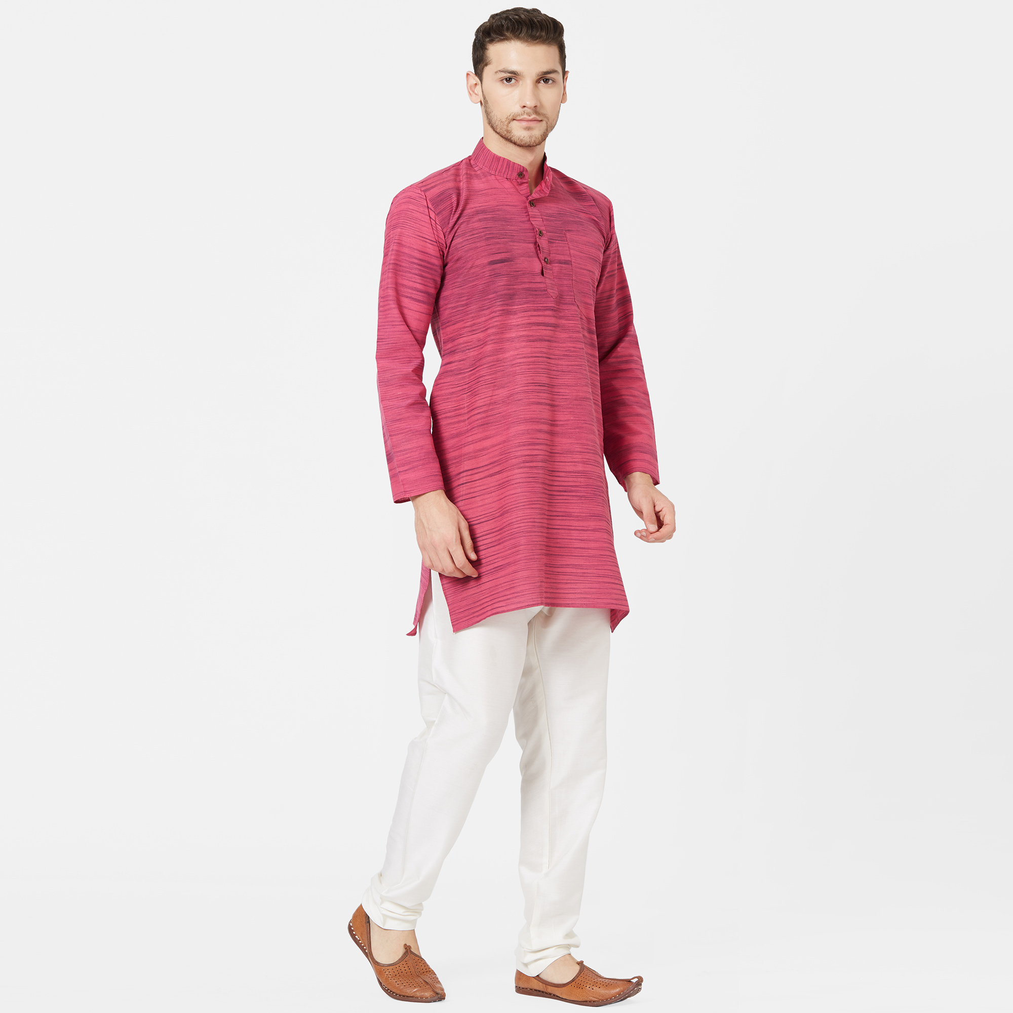 Refreshing Pink Colored Festive Wear Cotton Kurta