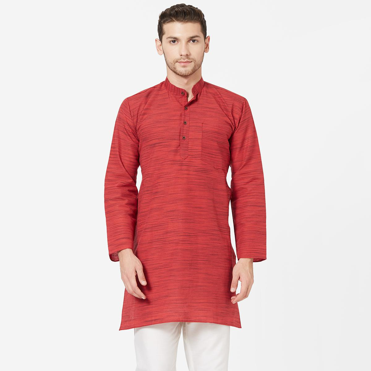 Gleaming Red Colored Festive Wear Cotton Kurta