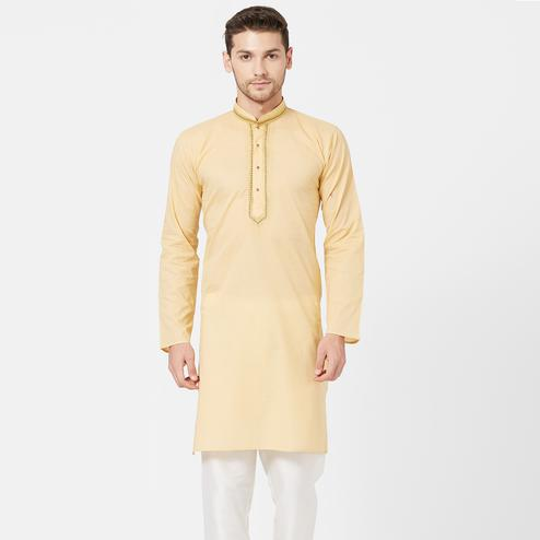 Demanding Cream Colored Festive Wear Cotton Kurta