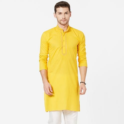 Glowing Lemon Yellow Color Festive Wear Cotton Kurta