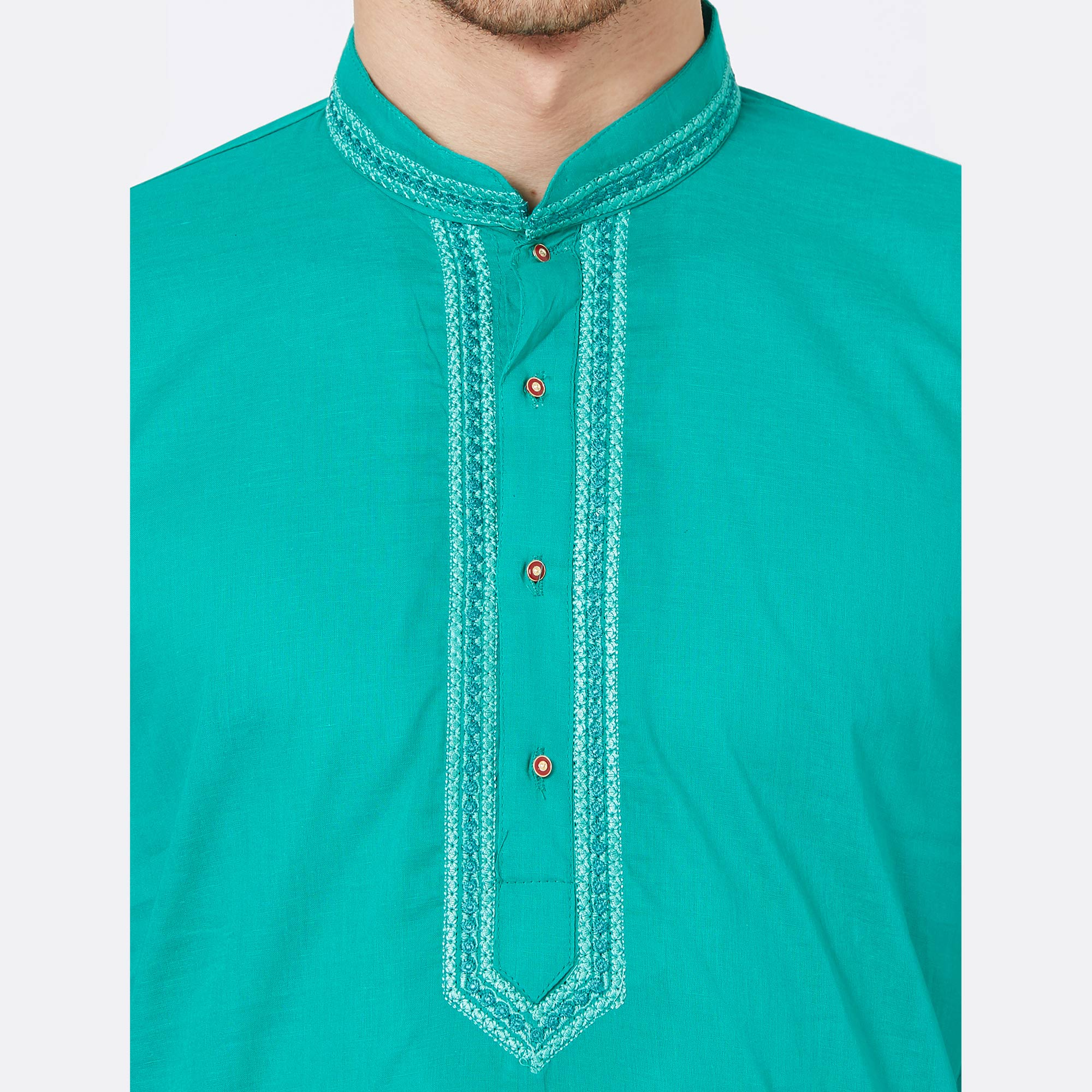 Opulent Aqua Blue Colored Festive Wear Cotton Kurta