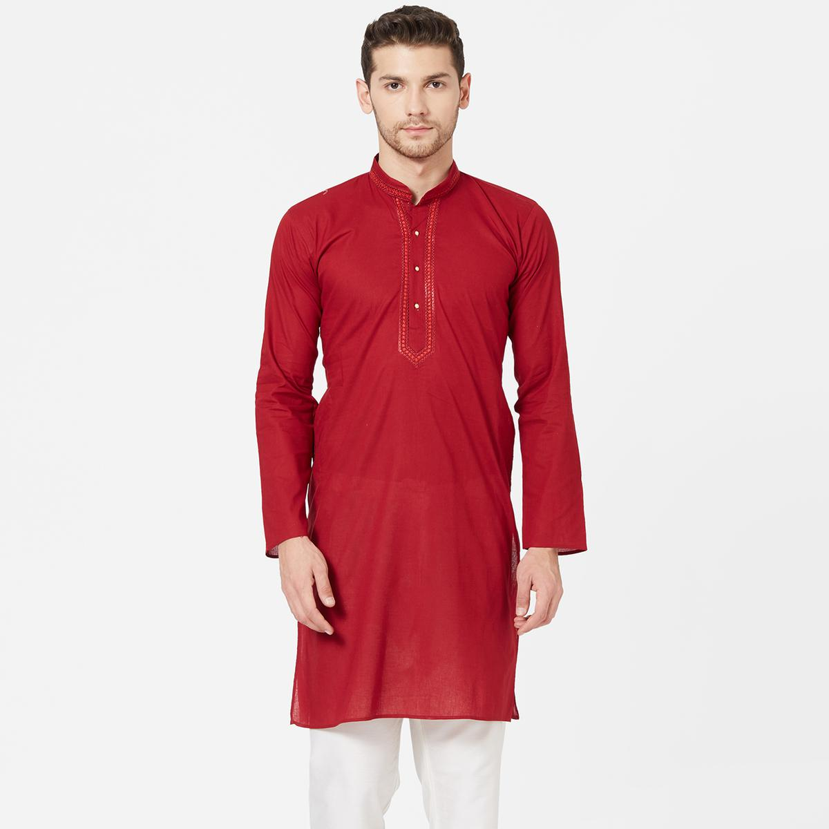 Flattering Red Colored Festive Wear Cotton Kurta