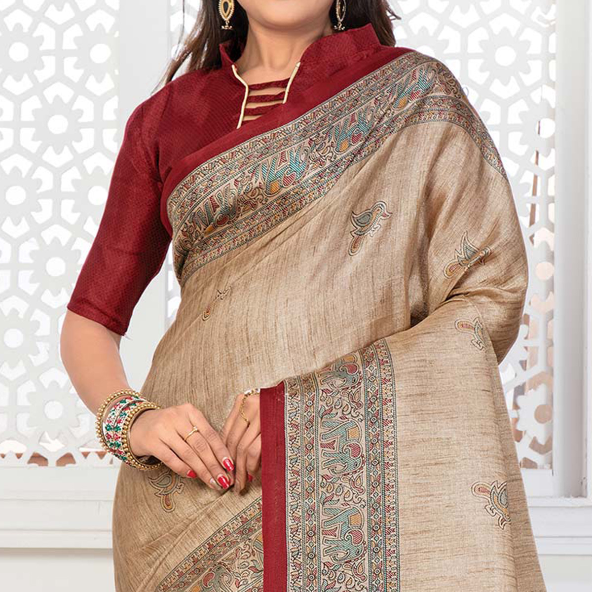 Beige - Red Casual Printed Bhagalpuri Silk Saree