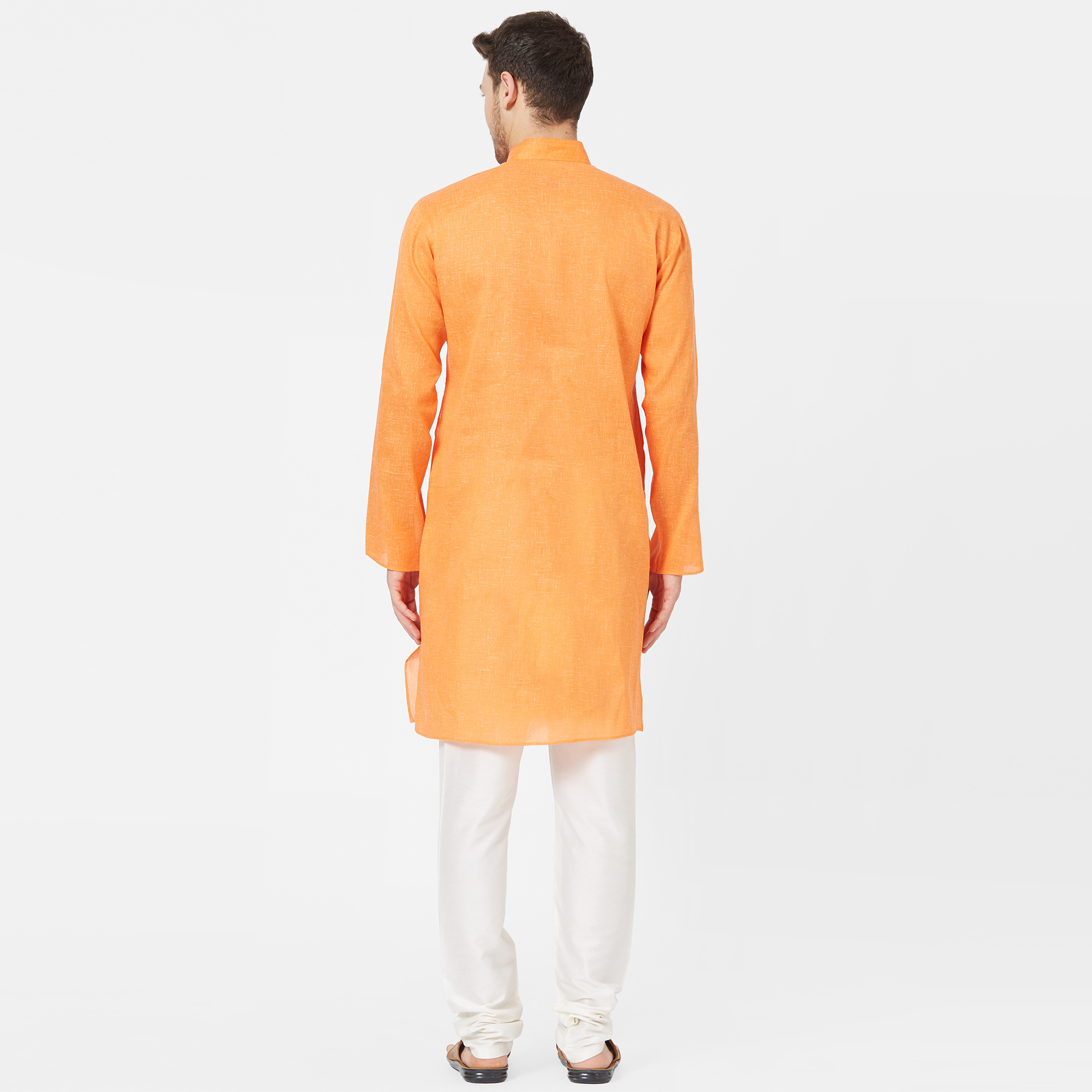 Entrancing Light Orange Colored Festive Wear Cotton Kurta