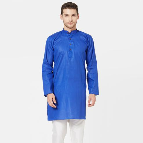Engrossing Blue Colored Festive Wear Cotton Kurta
