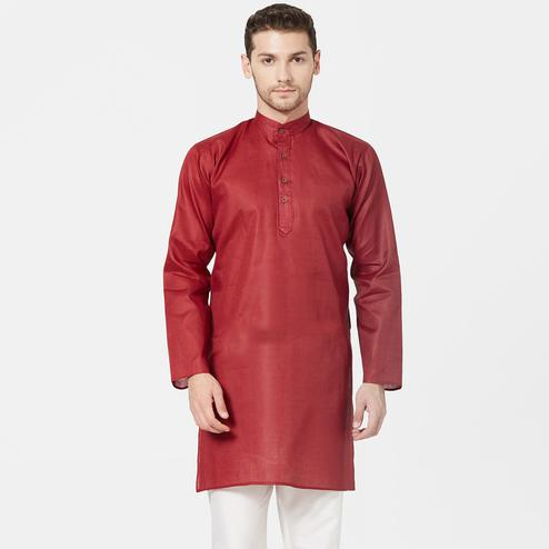 Mesmeric Maroon Colored Festive Wear Cotton Kurta
