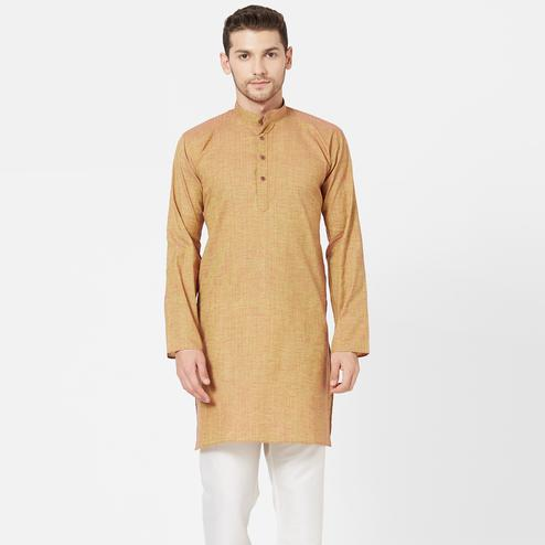 Eye-catching Chiku Colored Festive Wear Cotton Kurta