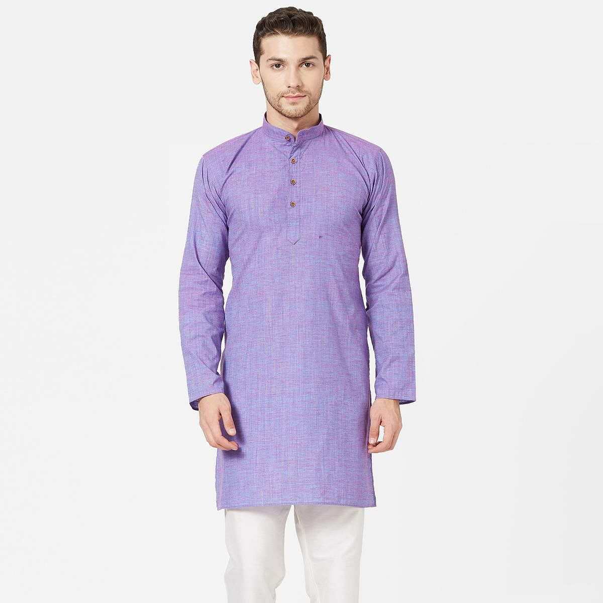 Gorgeous Light Purple Colored Festive Wear Cotton Kurta