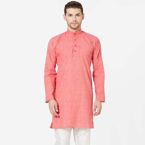 Radiant Pink Colored Festive Wear Cotton Kurta
