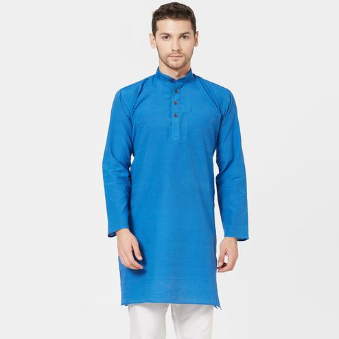 Exceptional Blue Colored Festive Wear Cotton Kurta