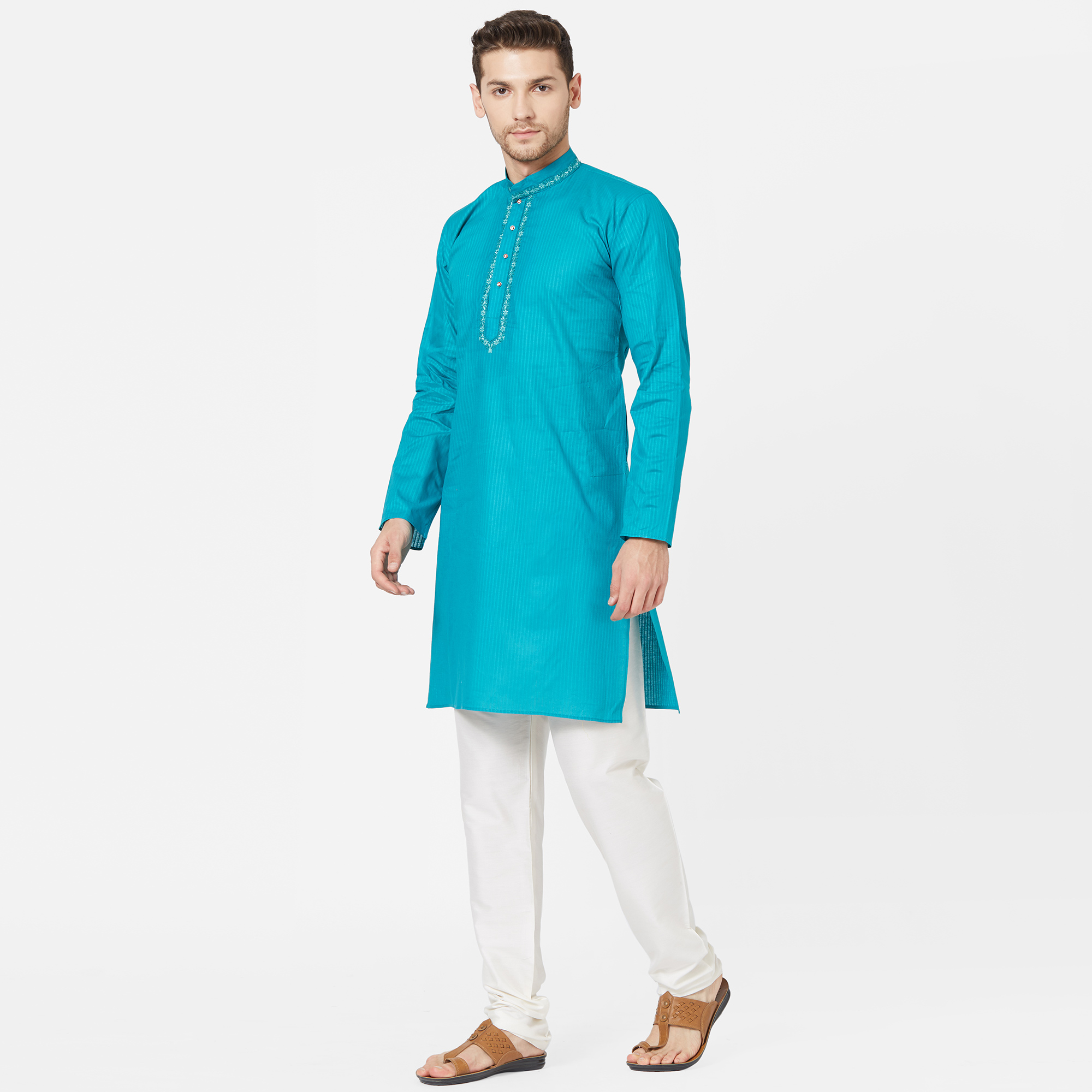 Glorious Sky Blue Colored Festive Wear Cotton Kurta