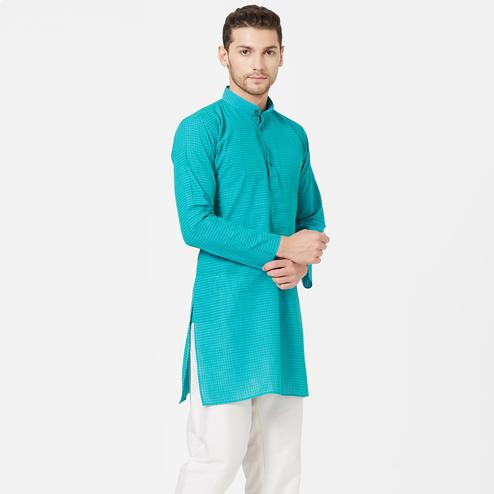 Graceful Aqua Blue Colored Festive Wear Cotton Kurta