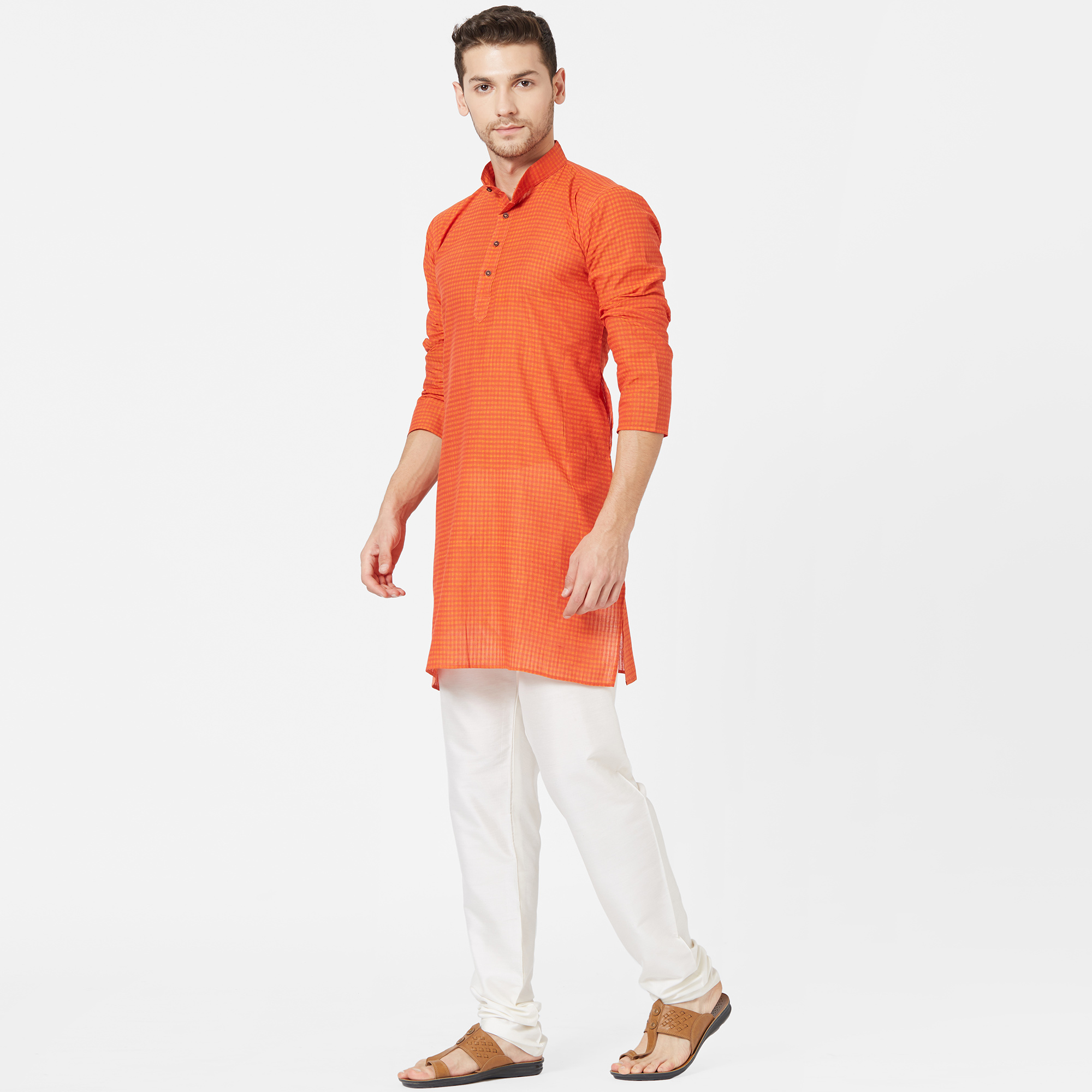 Ideal Orange Colored Festive Wear Cotton Kurta
