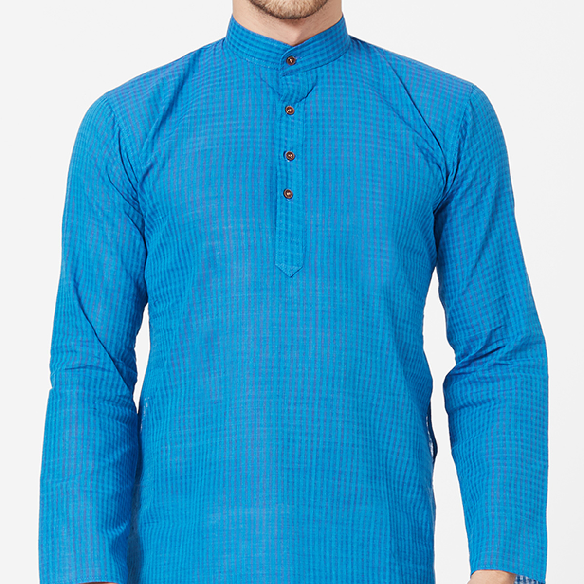 Pleasant Blue Colored Festive Wear Cotton Kurta