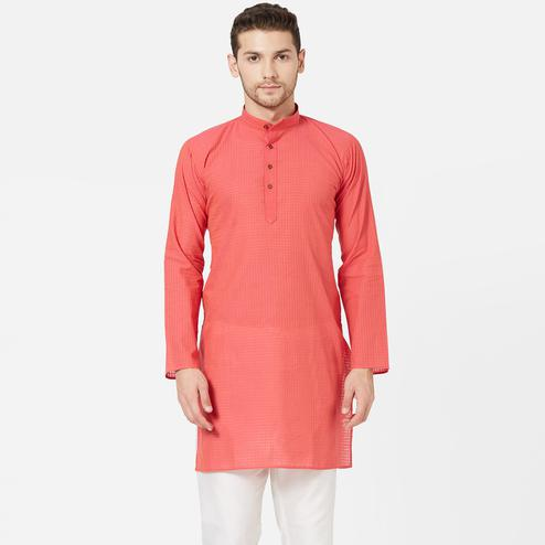 Trendy Pink Colored Festive Wear Cotton Kurta