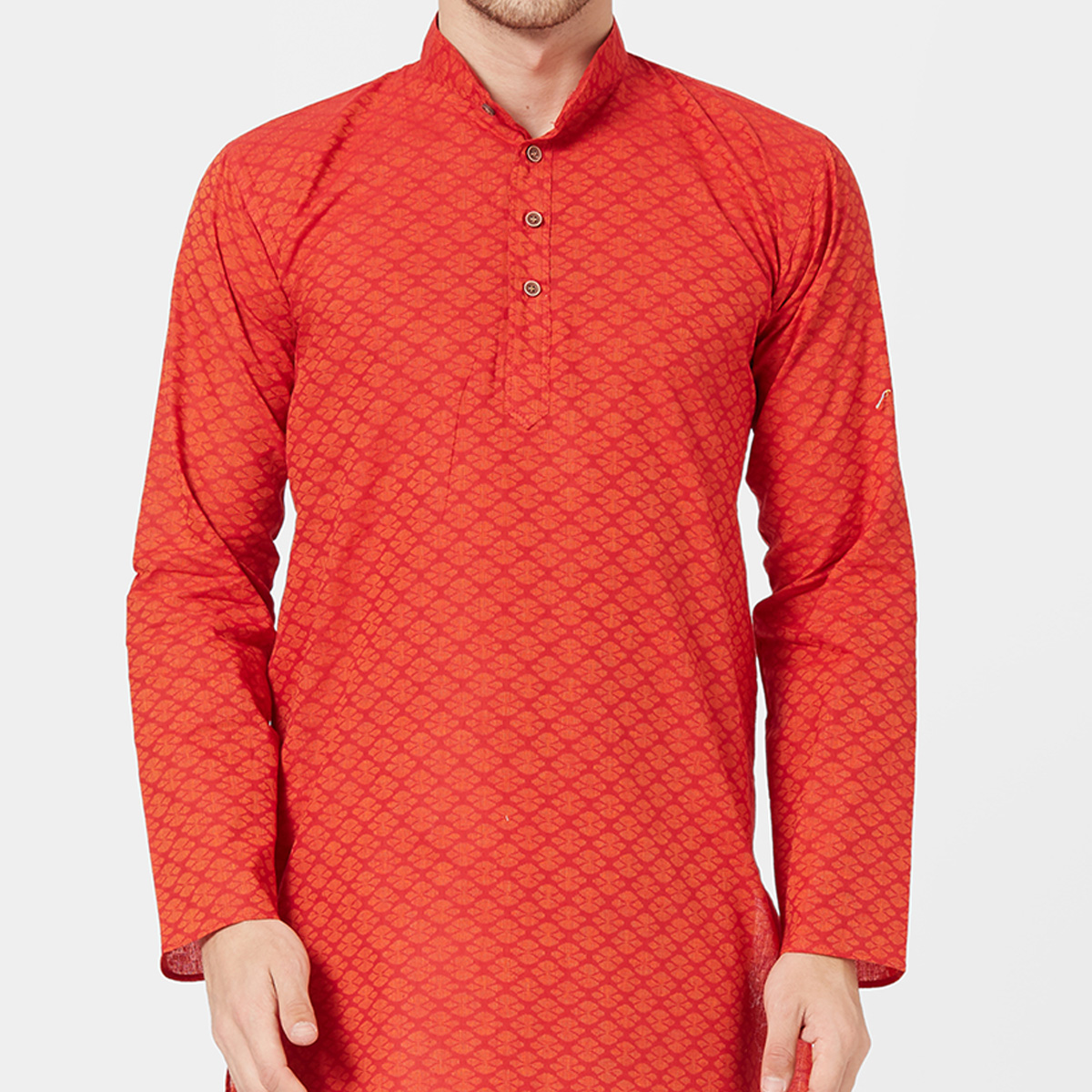 Magnetic Red Colored Festive Wear Cotton Kurta