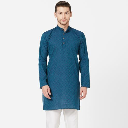 Energetic Navy Blue Colored Festive Wear Cotton Kurta