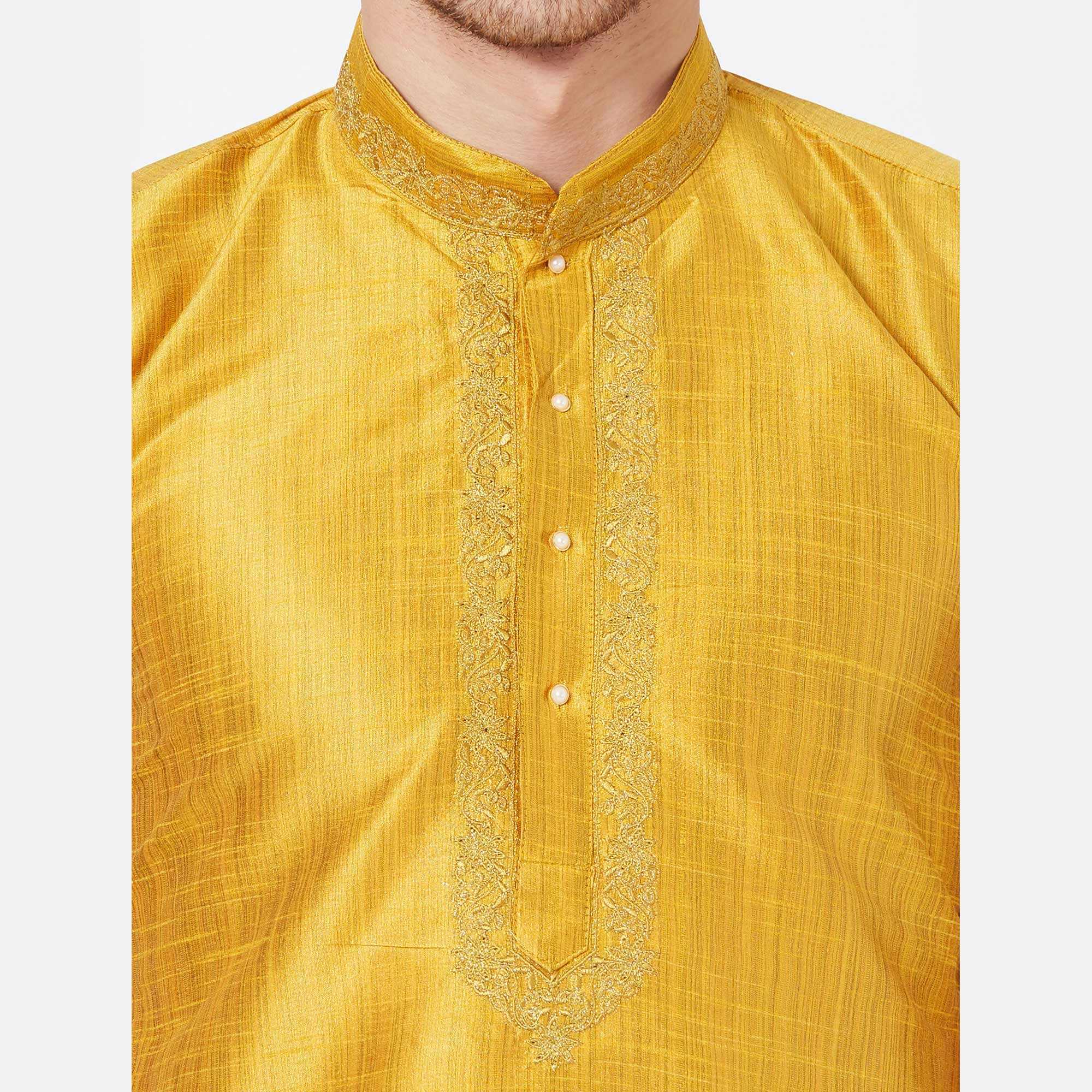Sophisticated Yellow Colored Festive Wear Cotton Kurta