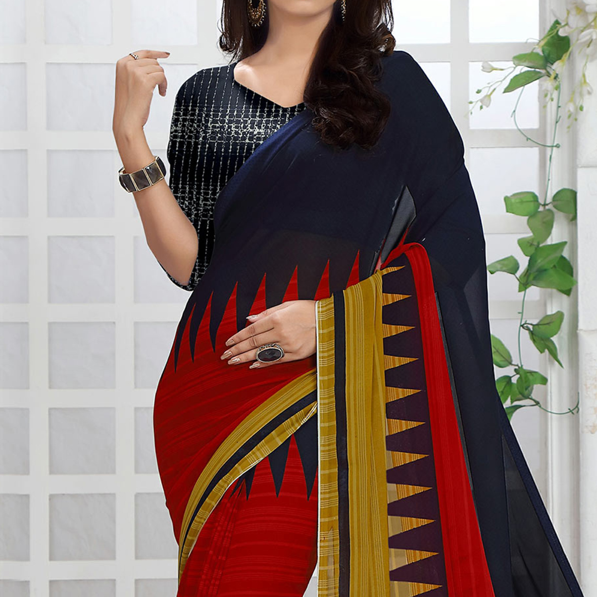 Multi Color Printed Georgette Saree