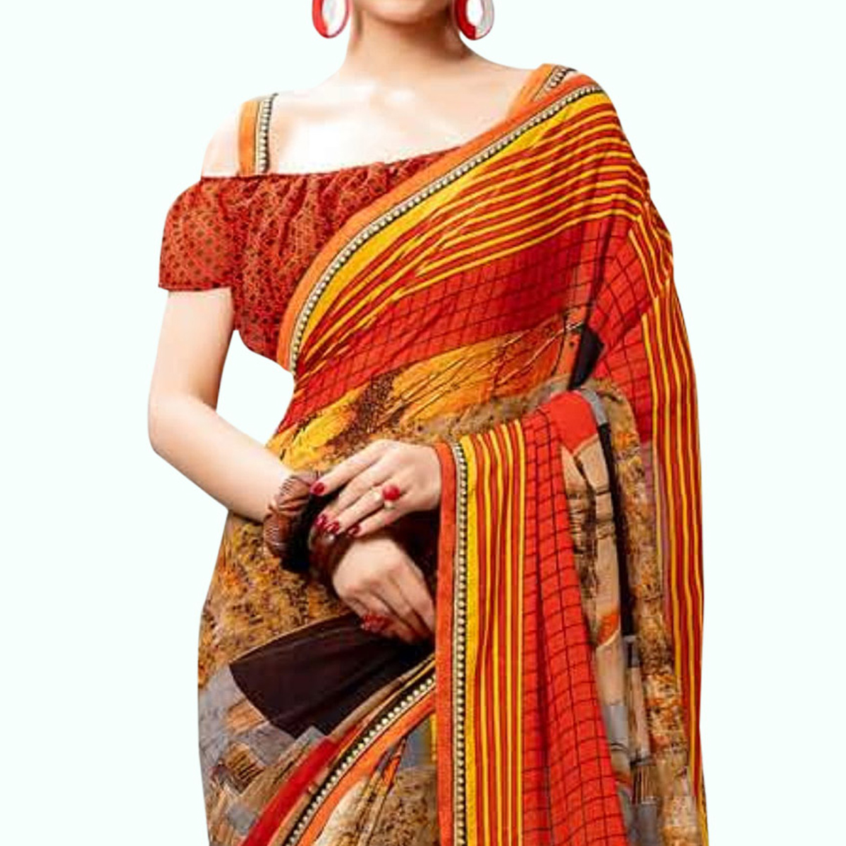 Blissful Orange Colored Casual Printed Georgette Saree