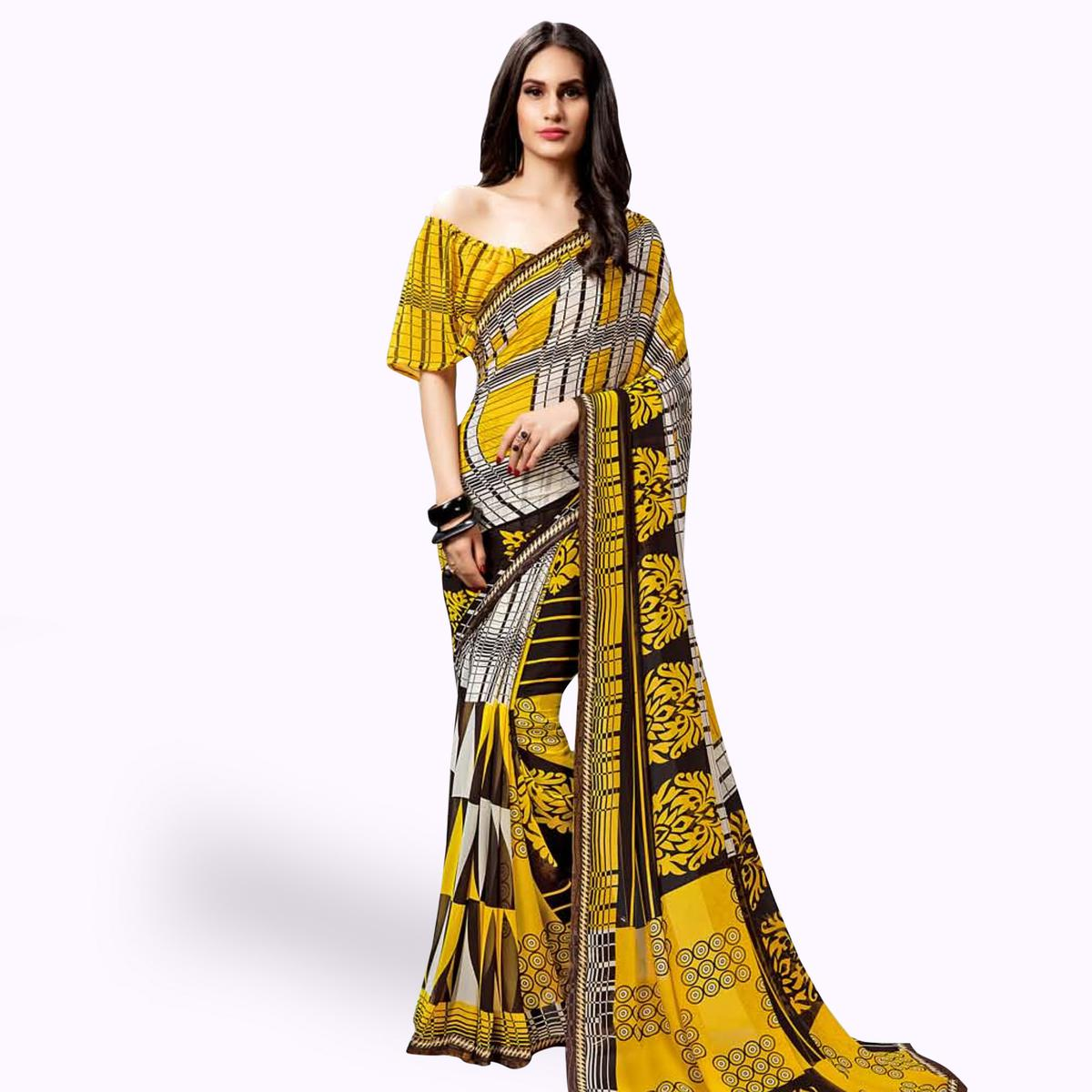 Blooming Yellow Color Casual Printed Georgette Saree
