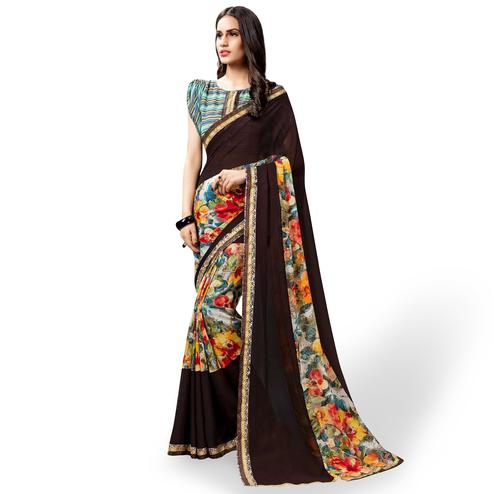 Classy Coffee Brown-Multi Colored Casual Printed Georgette Saree