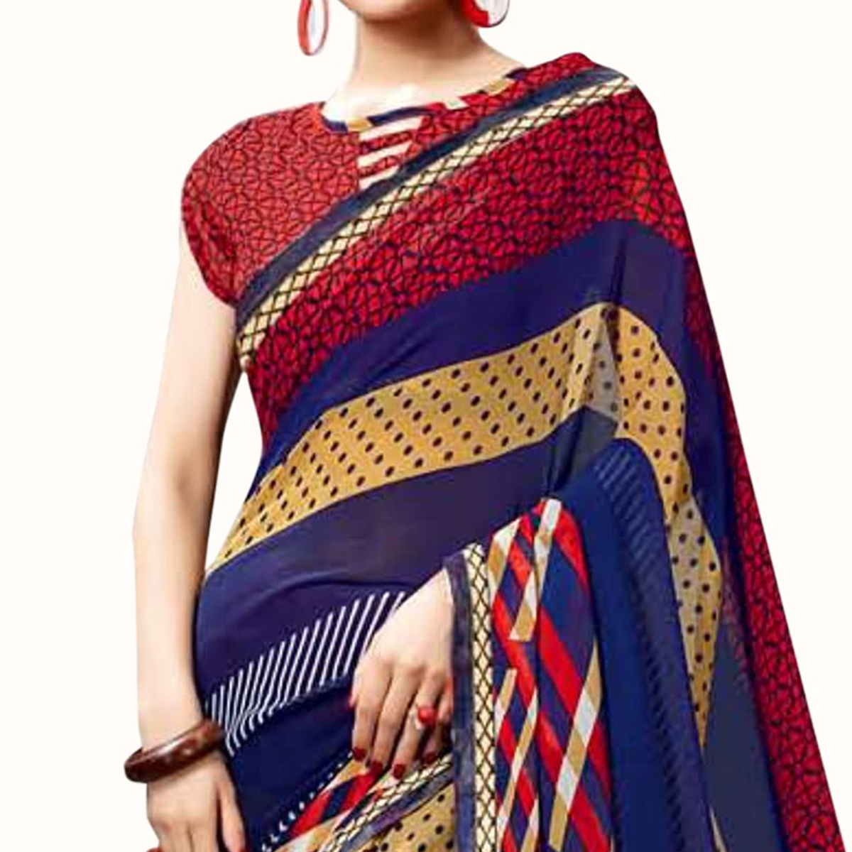 Engrossing Blue Colored Casual Printed Georgette Saree