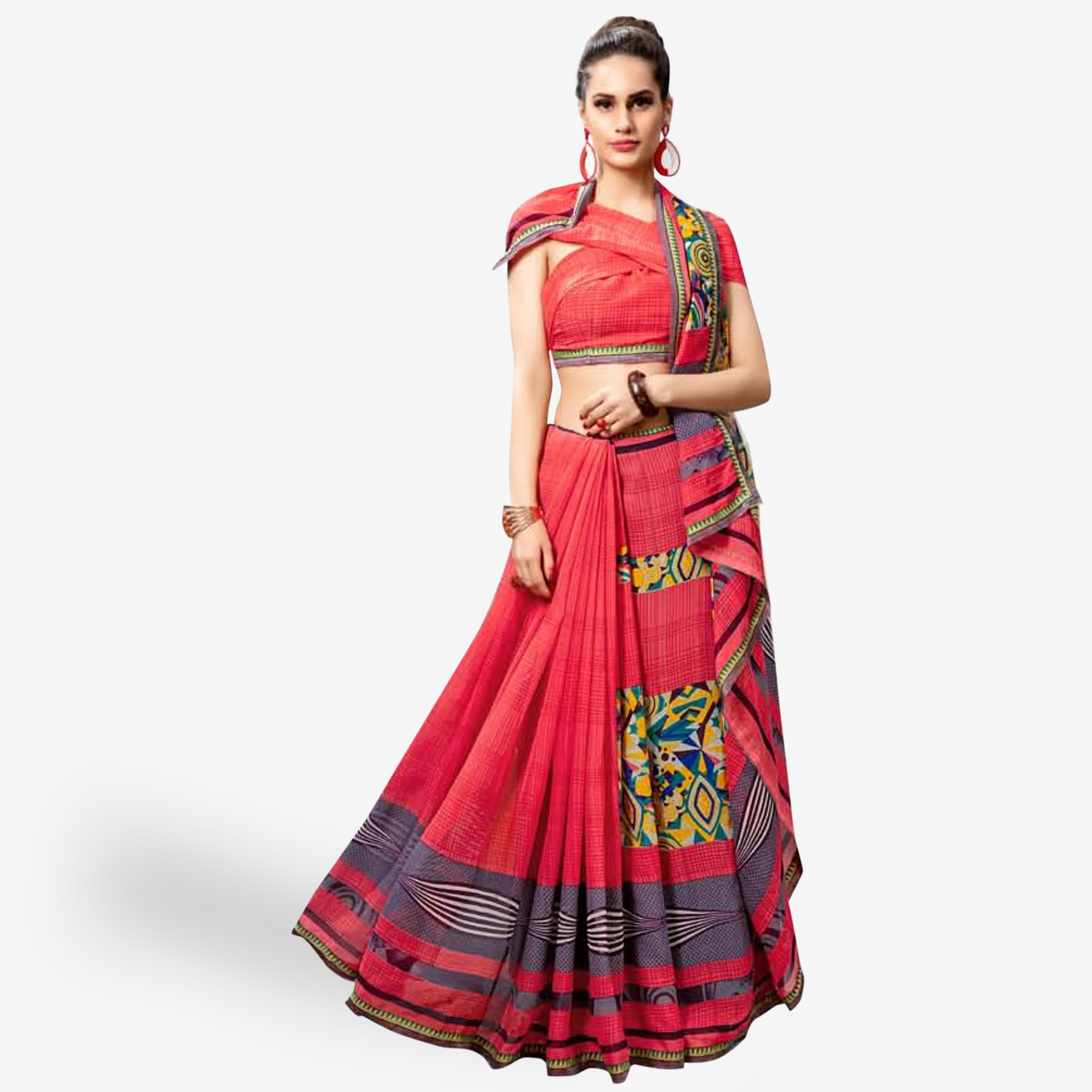 Entrancing Pink Colored Casual Printed Georgette Saree