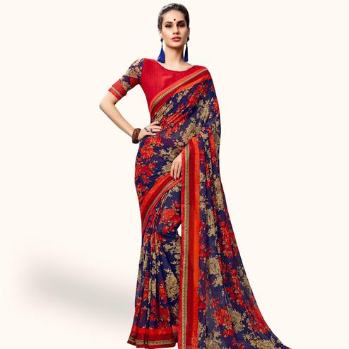 Sophisticated Blue Colored Casual Printed Georgette Saree